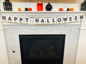 Modern Happy Halloween Banner in black and white