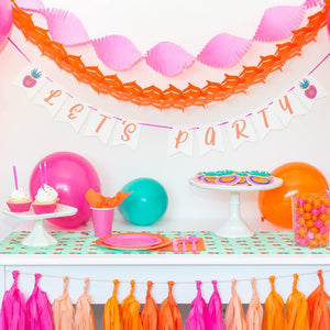 bright pink and orange party decorations