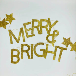 Merry & Bright Christmas Garland in Gold Glitter
