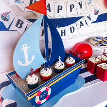 Load image into Gallery viewer, Nautical Party Supplies Cupcake Boat Centerpiece