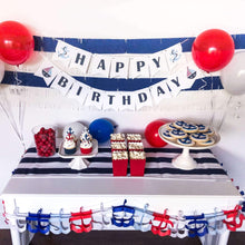 Load image into Gallery viewer, Nautical Party Supplies in Navy, White and Red