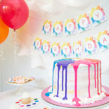 Load image into Gallery viewer, Rainbow Party Cake with White Candles