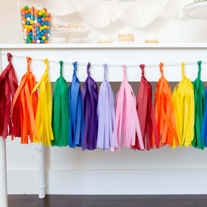 Rainbow Art Party Tissue Tassel Garland