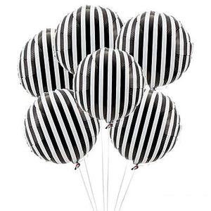 Black and white striped mylar balloons