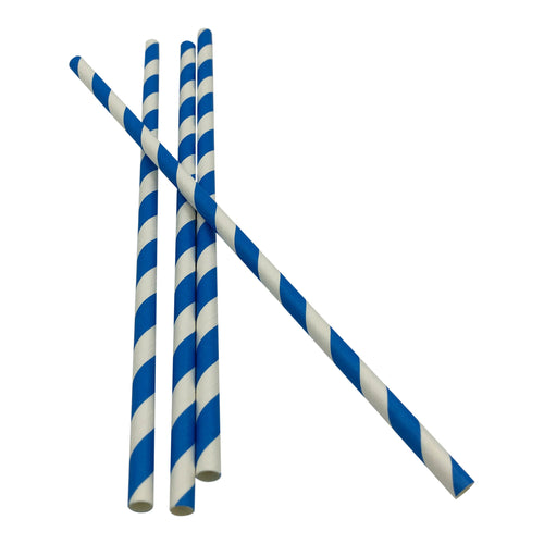 Blue and White Striped Straws