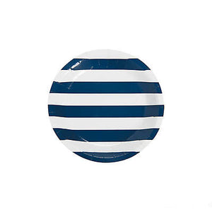 Navy and White Striped Small Paper Plates