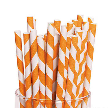 Orange and White Striped Paper Straws
