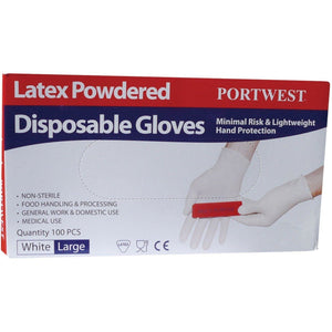 Portwest Powdered Latex Disposable Glove A910