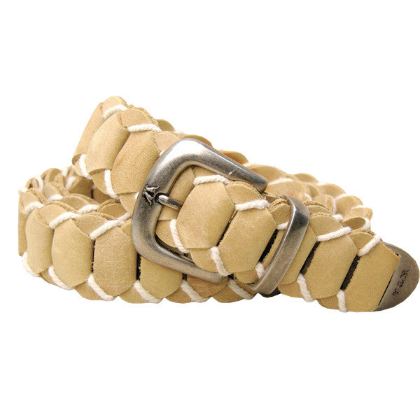 Hand Braided Dorrigo Leather Belt in Bone