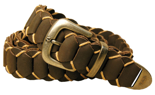 Hand Braided Dorrigo Leather Belt in Brown