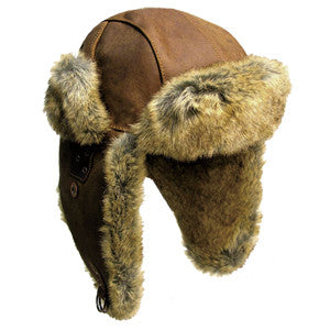 Inlander Leather Aviator Hat In Tobacco