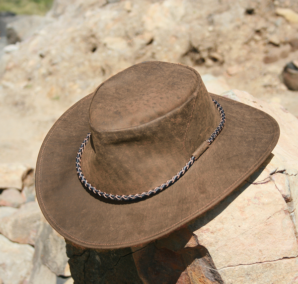 Southern Cross Kangaroo Suede Leather Hat In Tan