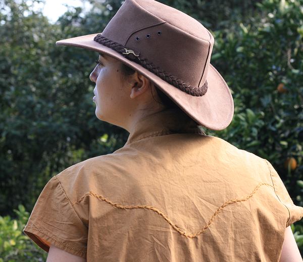 Kakadu ALICE HAT in Brown Suede Leather