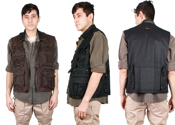 Traveller Multi-Pocket Vest in Brown