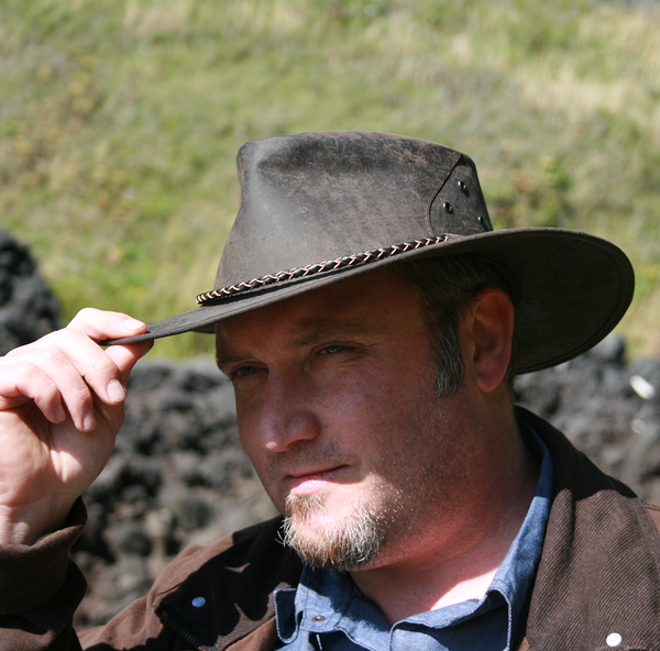 Kakadu THE ROO Kangaroo Leather Hat in Charcoal