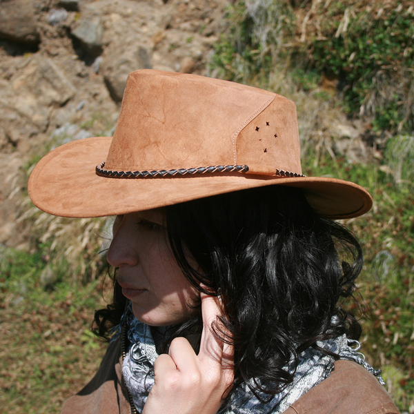 Southern Cross Kangaroo Suede Leather Hat In Brown