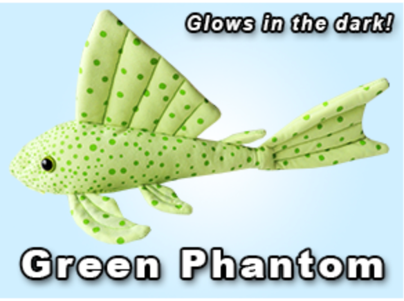 GreenPleco Green Phantom Pleco Plushie (Glows in the Dark)