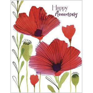 Anniversary Card - Red Poppies and Pods