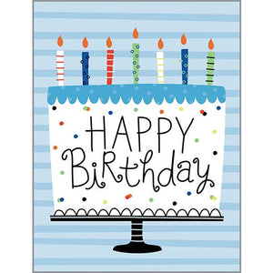 Birthday Card - Blue Stripe Cake