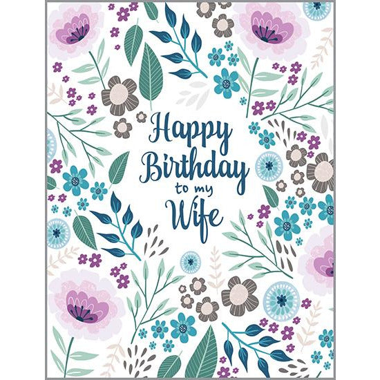 Birthday Card - Wife Purple Flowers, Gina B Designs