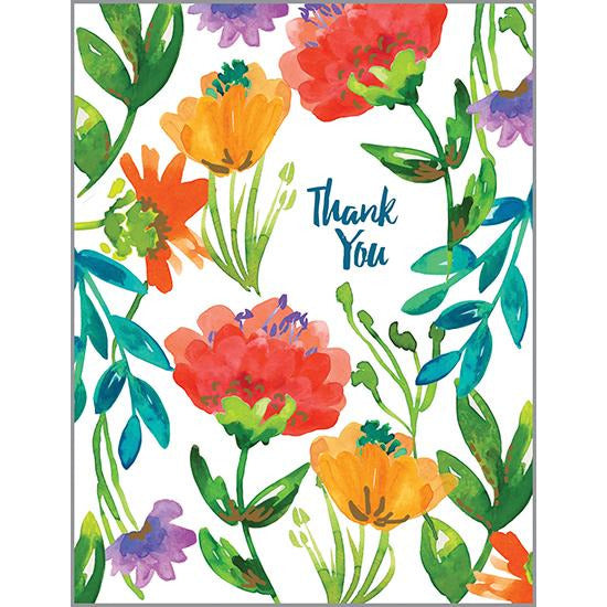Thank You card - Vivid Color Flowers, Gina B Designs