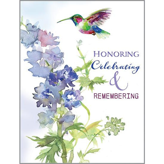 Sympathy Card - Delphinium and Hummer, Gina B Designs