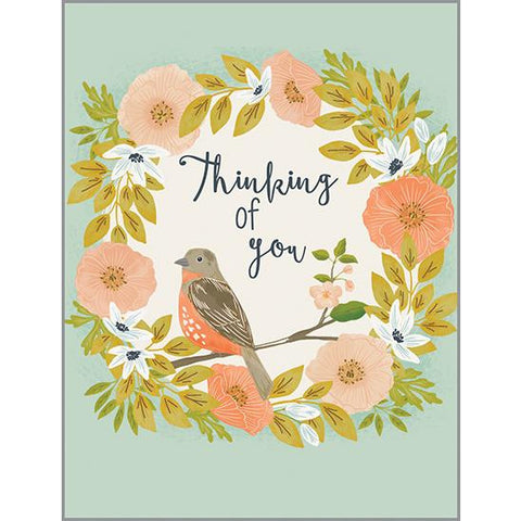 Thinking of you - Bird and Peach Flowers, Gina B Designs