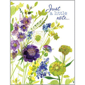 Thinking of you - Purple and Green Flowers, Gina B Designs
