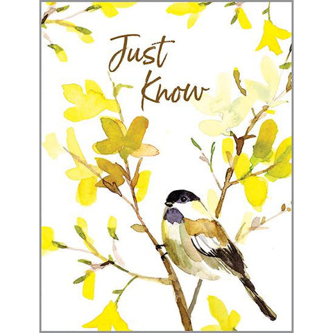 Thinking of You Card - Chickadees and Yellow Branch, Gina B Designs