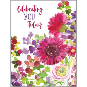 Birthday card - Magenta Mums, Gina B Designs