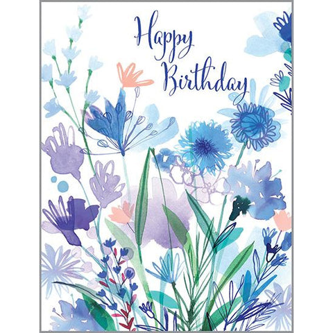 Birthday card - Blue Blooms, Gina B Designs