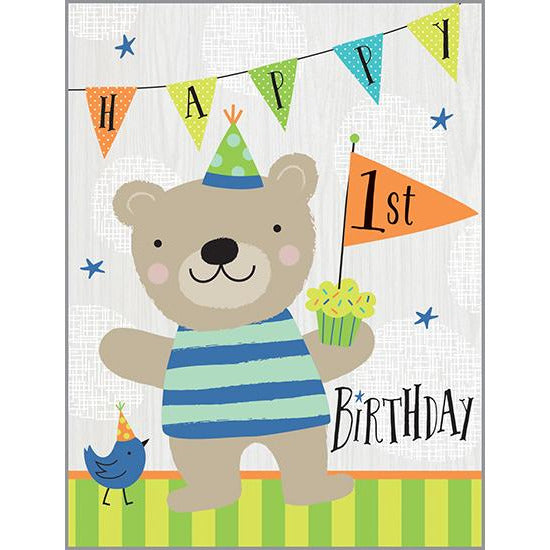 Birthday card - 1st Birthday Bear, Gina B Designs