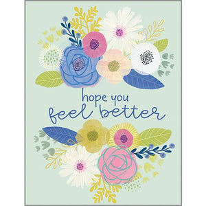 Get Well Card - Flowers on Mint