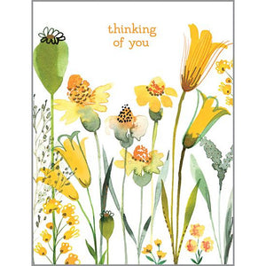 Thinking of You card - Yellow Garden Flowers