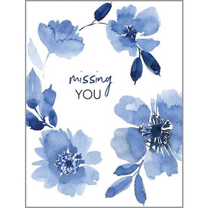 Thinking of You Card - Blue Petals Missing You