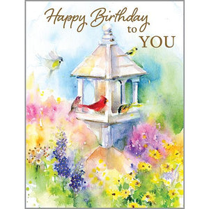 Birthday card - Garden Bird Feeder
