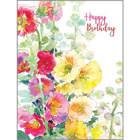 {with scripture} Birthday Card - Hollyhocks