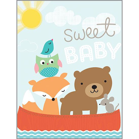 {with scripture} Baby Card - Animals in Canoe