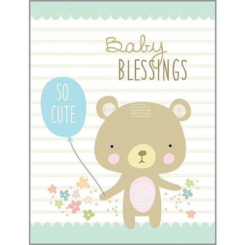 {with scripture} Baby Card - Bear with Balloon