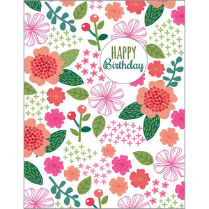 {with scripture} Birthday card - Green Pink Floral