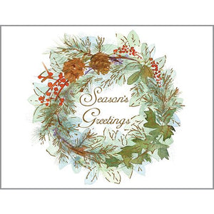 Holiday card - Pinecone/Leaves Wreath, Gina B Designs