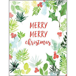 Christmas card - Pine & Holly Sprigs, Gina B Designs