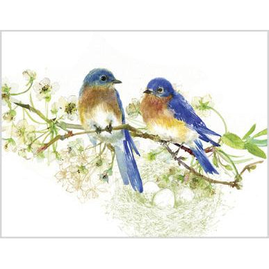 Blank Note Card  - Blue Birds