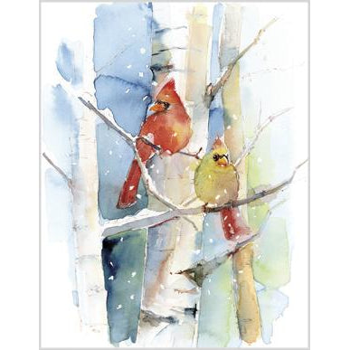 Blank Note Card  - Cardinal Pair/Birch