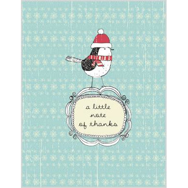 Blank Note Card  - Bird in hat/scarf, Gina B Designs