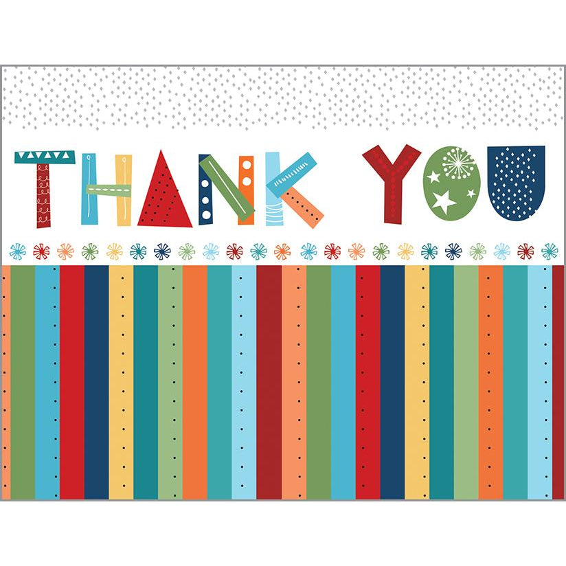 Blank Thank You Card - Thank You Stripes, Gina B Designs