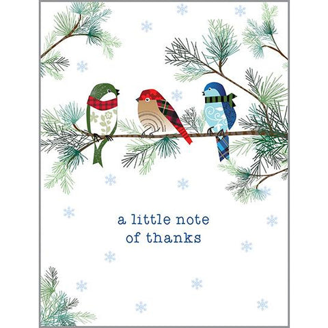 Blank Note Card  - Thank Winter Birds & Pine