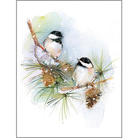 Blank Note Card  - Chickadees on Pine