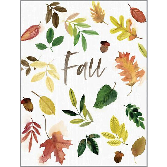 Blank Note Card  - Acorns and Leaves - Fall