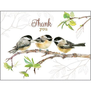 Blank Thank You Card - 3 Chickadees, Gina B Designs